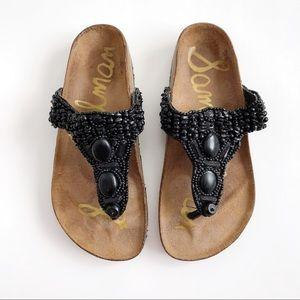 Sam Edelman Black Beaded Footbed Thong Sandals